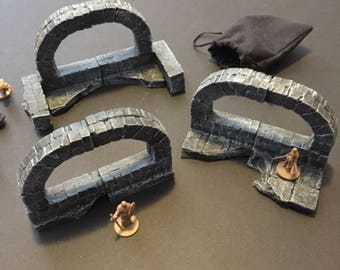 One of a kind RUINS, painted, D&D Pathfinder Dungeon Gaming Fantasy TableTop Terrain Miniature Roleplaying RPG