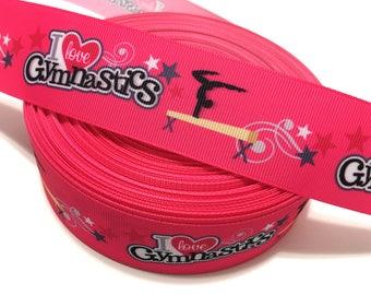 Pink Gymnastics Ribbon by the Yard, I love gymnastics Ribbon, Gymnastics Grosgrain ribbon, Craft Supplies, Lanyard Supplies