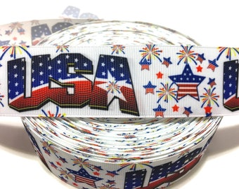 USA Ribbon, Independence Day Ribbon, July 4th Ribbon, 4th of July Grosgrain ribbon, USA Fireworks Ribbon, USA Grosgrain ribbon, Usa decor