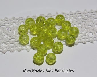 20 6mm yellow cracked glass beads