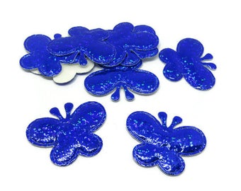 10 appliques brilliant 35 x 30mm blue butterfly applique / embellishment / scrapbooking