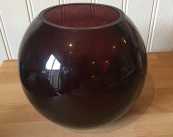 Vintage red glass fishbowl vase
