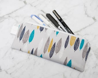 Blue and Gold Leaves Pencil Case / Zippered Pouch / Accessory Pouch / Glasses Case