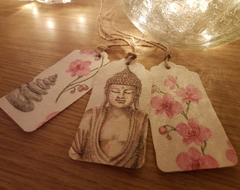 Pkt 3 Textured, glittered Buddha themed Gift Tags with twine or mix and match