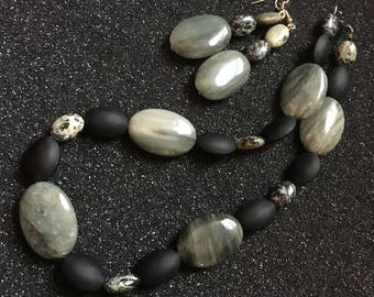 Modern Green-grey Stone and Black Glass Beaded Necklace