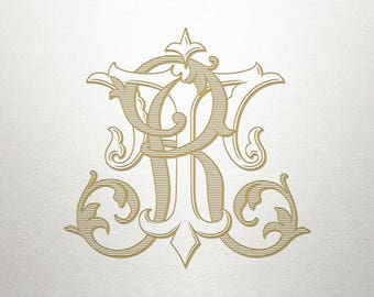 Vintage Wedding Monogram - RT TR - Wedding Monogram - Digital