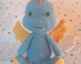 blue dragon crochet blanket