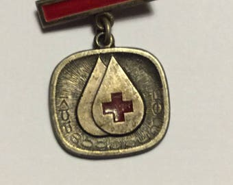 Bulgarian Cold War era Blood Donation Medal believed to be silver plate