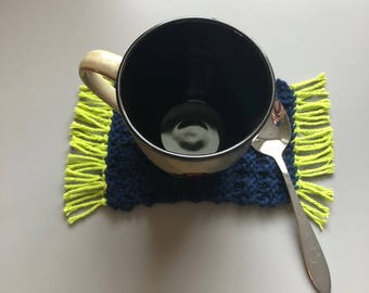 100 % Cotton hand knitted Mug Rug or Coaster, tea, coffee, eco, Seattle Seahawks gift, green