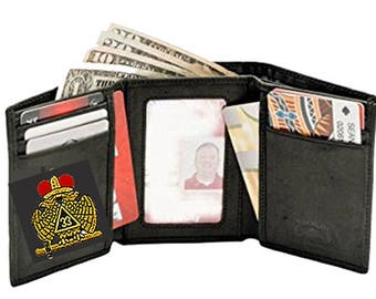 33rd Degree SCOTTISH RITE WALLET - Tri Fold - High Quality Leather - Embroidered Logo