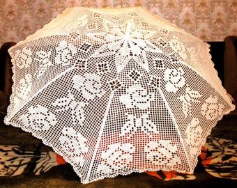 Openwork umbrella crochet, wedding umbrella, crochet umbrella