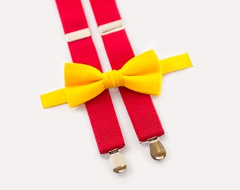 Mustard Bow Tie & Red Suspenders, Toddler Birthday Outfit, Toddler Bow Tie Suspenders