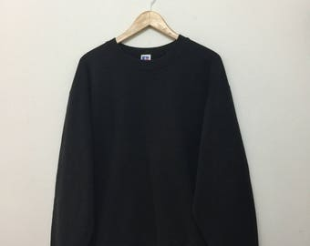 Vintage RUSSELL ATHLETIC Sweatshirt/Russell Athletic Plain Pullover Crewneck Sweater/Cotton Blend/Black/Size XL