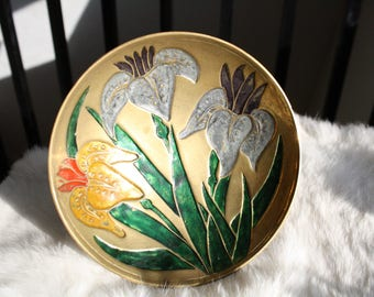 Vintage Hand Painted Enamel Floral Brass Bowl on Pedestal Colorful Home Decor Decoration Trinket Dish Bedroom Bathroom Foliage