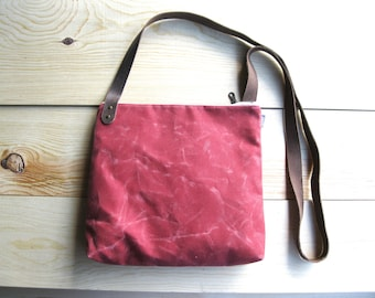 Crossbody Bag - Red Waxed Canvas. Medium Messenger Bag with Brown Leather Crossbody Strap. Brass Metal Zipper and Lined with Gray Linen
