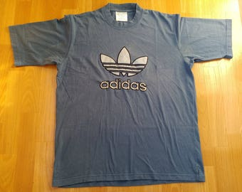 ADIDAS t-shirt, vintage hip hop shirt of 90s hip-hop clothing, 1990s gangsta rap, blue cotton, old school, size XL D7