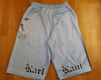 KARL KANI shorts, blue hip hop jeans shorts of 90s hip-hop clothing, old-school, 1990s, gangsta rap, basketball jordan vintage, OG size W 36