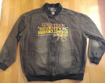 Pelle Pelle jacket, vintage denim coat, 90s old school hip-hop clothing, gangsta rap, black college jacket, men's size XL