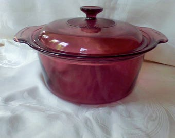 Vision Cookware  3.5L Corning,cookware , glass cookware,Pryex,  made in the USA Cranberry