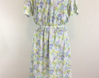 Vintage 1970s Collared Floral Dress - 70s Elastic Waist Peter Pan Collar Midi Dress - Size Extra Large, XL