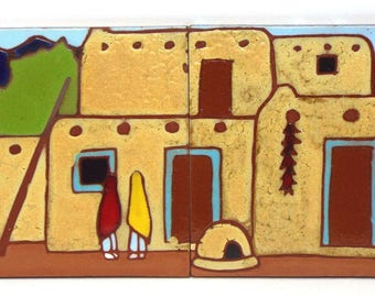 Taos Pueblo Southwest Decor, Backsplash Kitchen Decor, Native American Decor,  Southwest Tiles
