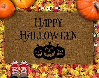 Happy Halloween Coir Doormat - 18x30 - Welcome Mat - House Warming - Mud Room - Gift - Custom
