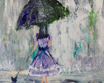 "Umbrella Print, Walking a Dog, Woman in Rain, Walking in Rain, 8""x10"" Print, Gift for Girlfriend, Girl's Room Decor, Gift for Her, MX3 art"