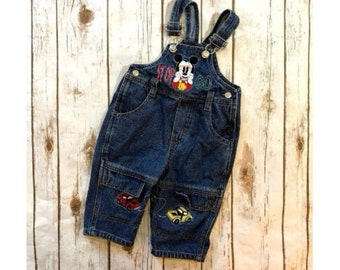 Vintage Disney Baby Mickey Mouse Denim Bib Overalls, 90s Kids Denim Overalls, Mickey Mouse Cars Stop Go Overalls, Infant Toddler Size 12M
