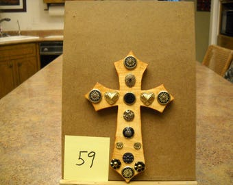 Wooden Cross with Vintage Buttons, Item #59