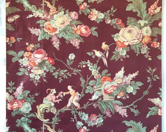 Beautiful 1930's French Printed Cotton / Chintz Chinoiserie Floral Fabric (2259)