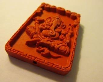 "Red Cinnabar Pendant of Ganesh, 2 1/4"""