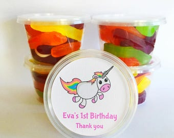 5 Unicorn Party Favours | Personalised Tubs | Alternative to lolly bags for birthday parties as thank you gifts