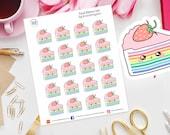 Kawaii Rainbow Cake Planner Stickers for Erin Condren, Happy Planner, bday, Filofax, Kikki K, Birthday, Party, Celebration