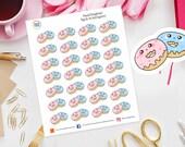 Kawaii Doughnut Planner Stickers for Erin Condren, Happy Planner, bday, Filofax, Kikki K, Birthday, Party, Celebration,food