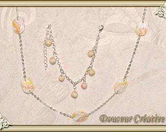 Set of necklace bracelet pastel multicolored 105006