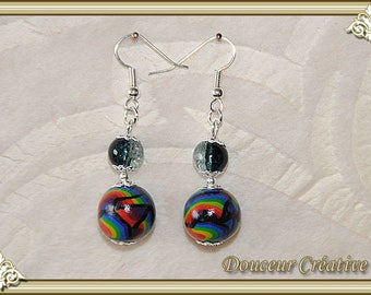Black earrings multicolor beads 104066