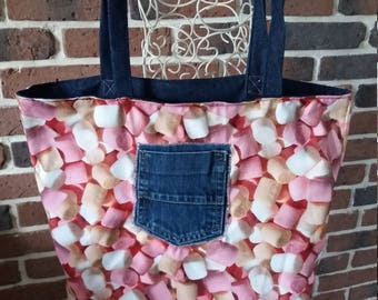 Bag for women with Marshmallow print reversible denim fabric