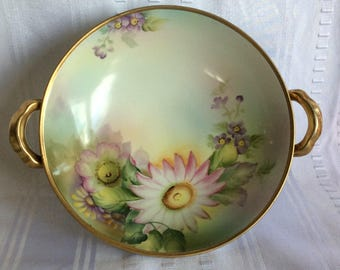 Superb Nippon Ceramic handle footed dish floral pattern 1921