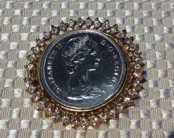 Vintage 1965 Silver coin brooch Queen Elizabeth silver 50 cents mounted pin aurora borealis crystal rhineston brooch