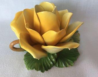 Vintage Capo Di Monte porcelain rose flower single candle holder