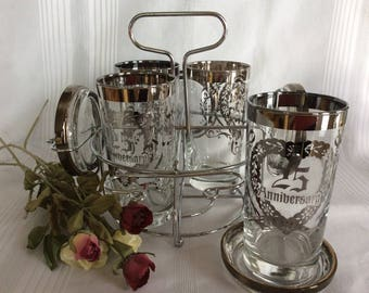 Vintage 25 th Anniversary Celebration silver fade ombre glassware with caddy and coaster