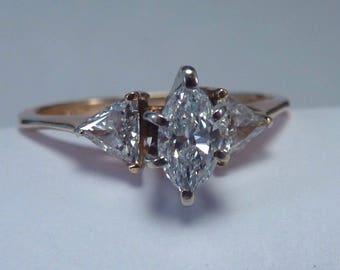 14K Yellow Gold Diamond Ring 1 tcw. High Quality Clean White Stones