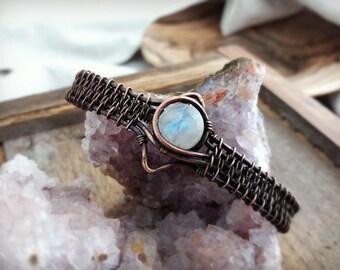 Bracelet wire wrapped handmade copper and Rainbow Moonstone. Celtic, boho, medieval, viking, tribal inspiration