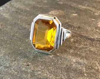 Vintage Sterling Silver Emerald-Cut Citrine Art Deco Ring signed Uncas size 6.75