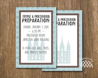 LDS Temple & Priesthood Preparation Invitation -- Blue Sunburst