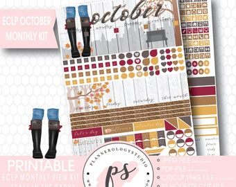 Fall in the Park October 2017 Monthly View Kit Printable Planner Stickers (for use with ECLP) | JPG/PDF/Silhouette Cut File