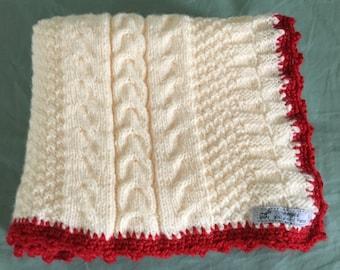 Hand Knit Cream Ivory Red Baby Blanket/Stroller blanket/Crib blanket/Christening/Baby Shower Gift