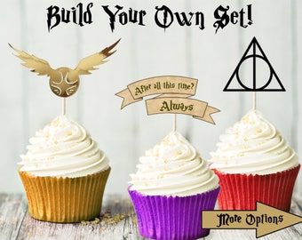 12 Harry Potter Cupcake Toppers - Build Your Own Set - Birthday Party - Hogwarts Party - Harry Potter Party - Decoration