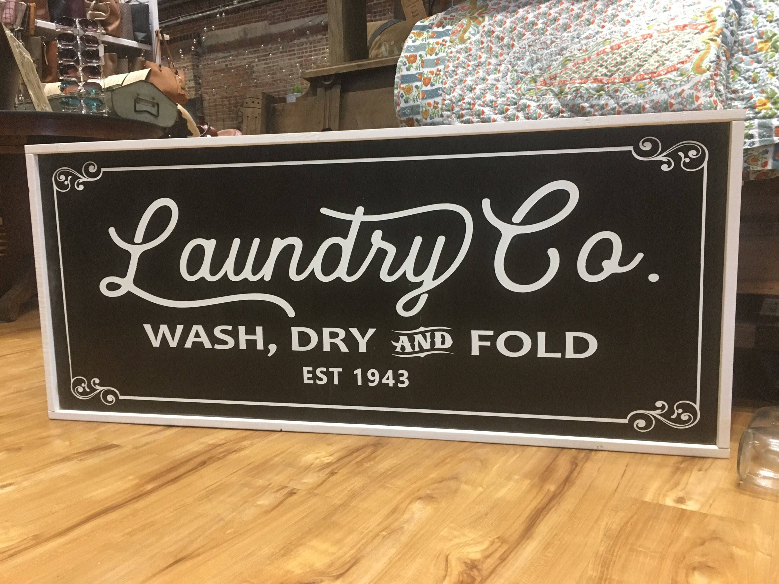 Laundry And Co Sign Laundry Cowood Sign 13X32  Farmhouse  Modern  Home Decor