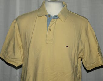 Rare Vintage 90's Tommy Hilfiger Polo Golf Yellow Shirt Size XL